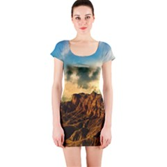 Mountain Sky Landscape Nature Short Sleeve Bodycon Dress