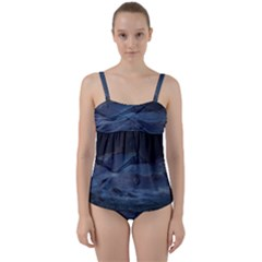 Landscape Night Lunar Sky Scene Twist Front Tankini Set