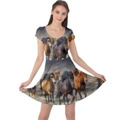 Horses Stampede Nature Running Cap Sleeve Dress