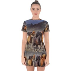 Horses Stampede Nature Running Drop Hem Mini Chiffon Dress by Celenk
