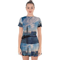 London Westminster Landmark England Drop Hem Mini Chiffon Dress by Celenk