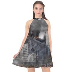 Apocalypse War Armageddon Halter Neckline Chiffon Dress  by Celenk