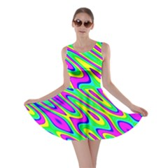 Lilac Yellow Wave Abstract Pattern Skater Dress