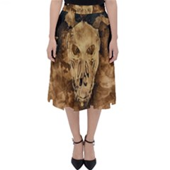 Skull Demon Scary Halloween Horror Folding Skater Skirt by Celenk