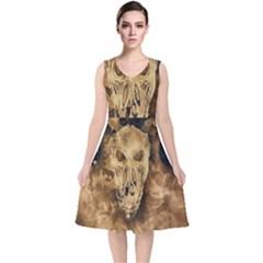 Skull Demon Scary Halloween Horror V Neck Midi Sleeveless Dress