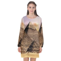 Pyramids Egypt Long Sleeve Chiffon Shift Dress  by Celenk