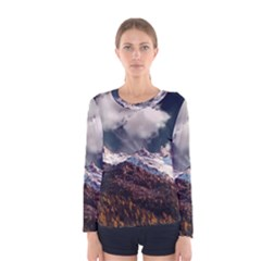 Mountain Sky Landscape Hill Rock Women s Long Sleeve Tee by Celenk