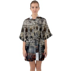 Colosseum Italy Landmark Coliseum Quarter Sleeve Kimono Robe by Celenk