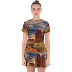 Bryce Canyon Usa Canyon Bryce Drop Hem Mini Chiffon Dress by Celenk