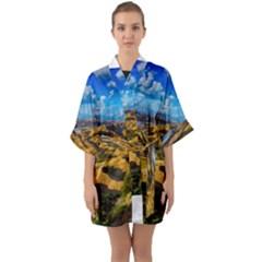Hills Countryside Landscape Rural Quarter Sleeve Kimono Robe by Celenk