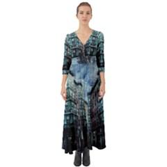 Storm Weather Thunderstorm Nature Button Up Boho Maxi Dress