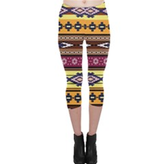 Colorful Tribal Art   Boho Pattern Capri Leggings  by tarastyle