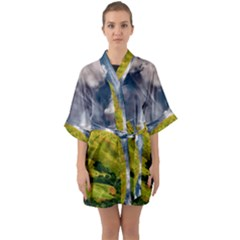 Hill Countryside Landscape Nature Quarter Sleeve Kimono Robe by Celenk