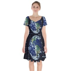 Earth Internet Globalisation Short Sleeve Bardot Dress by Celenk