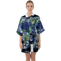 Earth Internet Globalisation Quarter Sleeve Kimono Robe by Celenk