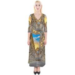 Abbey Ruin Architecture Medieval Quarter Sleeve Wrap Maxi Dress