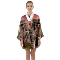 Stonehenge Ancient England Long Sleeve Kimono Robe by Celenk