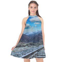 Nature Landscape Mountains Slope Halter Neckline Chiffon Dress  by Celenk