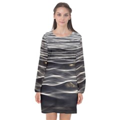 Texture Background Water Long Sleeve Chiffon Shift Dress  by Celenk