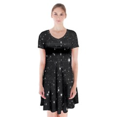 Black Background Texture Stars Short Sleeve V Neck Flare Dress by Celenk