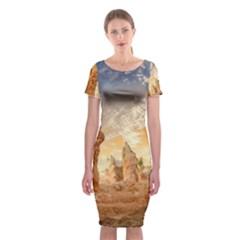 Canyon Desert Landscape Scenic Classic Short Sleeve Midi Dress