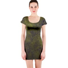 Green Background Texture Grunge Short Sleeve Bodycon Dress