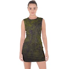 Green Background Texture Grunge Lace Up Front Bodycon Dress