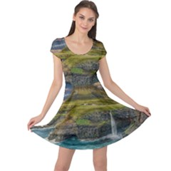 Coastline Waterfall Landscape Cap Sleeve Dress