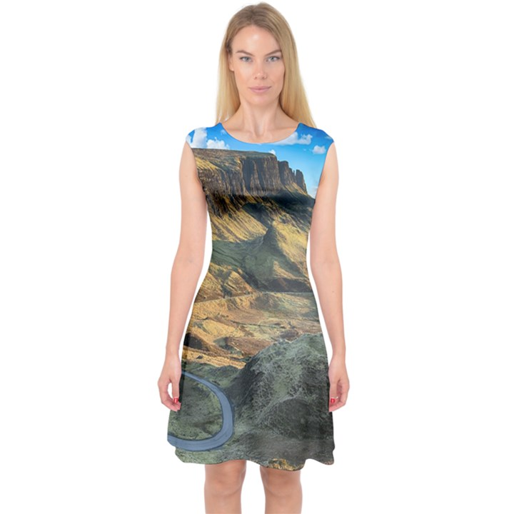 Nature Landscape Mountains Outdoor Capsleeve Midi Dress