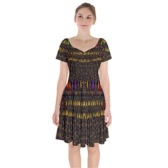 Hot As Candles And Fireworks In Warm Flames Short Sleeve Bardot Dress by pepitasart