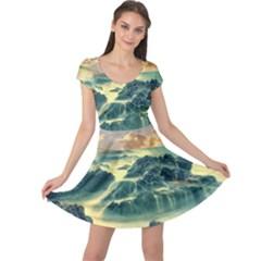 Coastline Sea Nature Sky Landscape Cap Sleeve Dress
