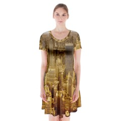 New York Empire State Building Short Sleeve V Neck Flare Dress by Celenk