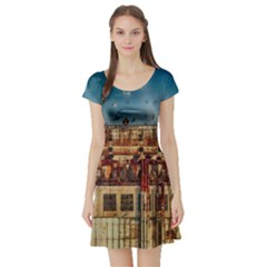 Ruin Abandoned Building Urban Short Sleeve Skater Dress