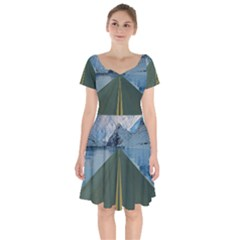 Road Ice Landscape Short Sleeve Bardot Dress by Celenk