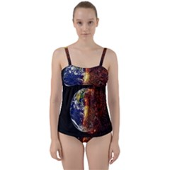 Climate Change Global Warming Twist Front Tankini Set by Celenk