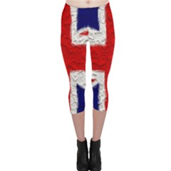 Union Jack Flag National Country Capri Leggings  by Celenk