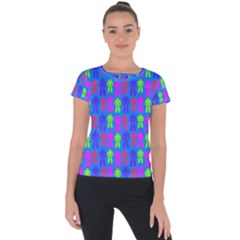 Neon Robot Short Sleeve Sports Top  by snowwhitegirl