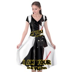 Darth Vader Cat Cap Sleeve Wrap Front Dress by Valentinaart