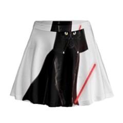 Darth Vader Cat Mini Flare Skirt by Valentinaart