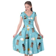 Groundhog Day Pattern Cap Sleeve Wrap Front Dress by Valentinaart