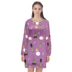 Groundhog Day Pattern Long Sleeve Chiffon Shift Dress  by Valentinaart