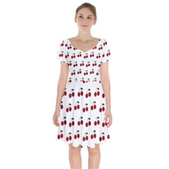 Cherries Short Sleeve Bardot Dress by snowwhitegirl