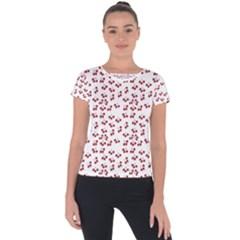 Red Cherries Short Sleeve Sports Top  by snowwhitegirl