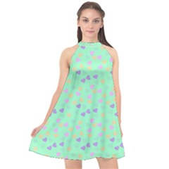 Minty Hearts Halter Neckline Chiffon Dress  by snowwhitegirl