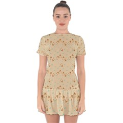 Winter Hats Beige Drop Hem Mini Chiffon Dress by snowwhitegirl