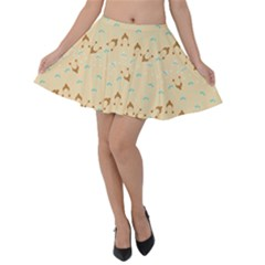 Winter Hats Beige Velvet Skater Skirt by snowwhitegirl