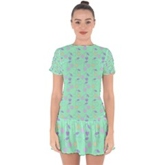 Mint Heart Cherries Drop Hem Mini Chiffon Dress by snowwhitegirl