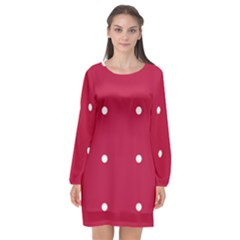 Red Dot Long Sleeve Chiffon Shift Dress  by snowwhitegirl