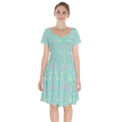 Music Stars Seafoam Short Sleeve Bardot Dress by snowwhitegirl