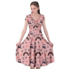 Music Stars Peach Cap Sleeve Wrap Front Dress by snowwhitegirl